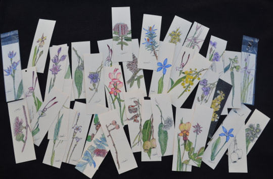 Selection of  Bookmarks. Some prints are available at Kings Park Aspect Gallery Perth WA.