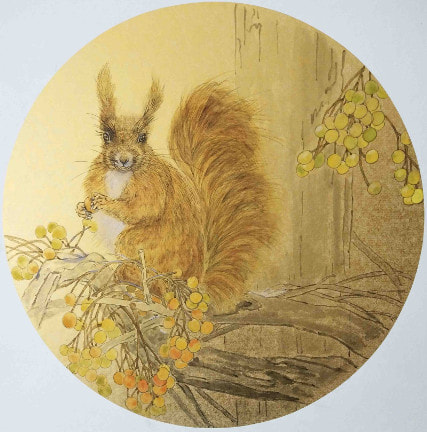 The Red Squirrel.  Unframed watercolour on paper (340mm diameter circular)